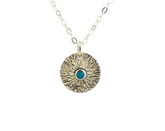 Sunburst turquoise necklace - southwestern style jewelry - sun ray necklace - sunburst coin - starburst pendant- minimalist jewelry -