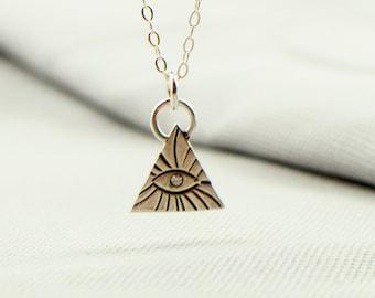 All seeing eye necklace - symbolic jewelry - silver eye necklace - dainty silver necklace - triangle necklace - geometric jewelry under 50