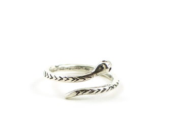 Dainty silver snake ring -minimalist ring - serpent ring -  snake band- adjustable silver ring - midi ring -  gift for her under 50