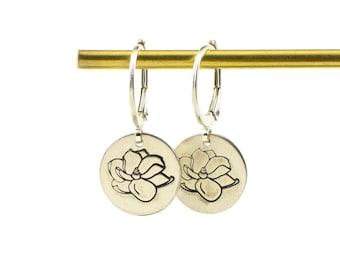 Dainty flower earrings - silver flower earrings - magnolia earrings - hand stamped earrings - daisy dangle earrings - gift for her under 30