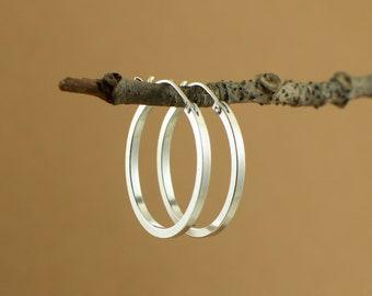 Square edges hoop earrings -minimalist jewelry - hinged hoop earrings - dainty silver hoop - Gift for her- jewelry gift under 50