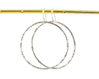Rustic hoop dangle earrings - circle earrings - silver dangle earrings - southwest style earrings - hand stamped earrings - gift under 50