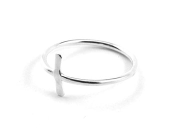 Silver cross ring - cross ring - christian ring for women - religious ring - sideway cross ring- sterling silver cross ring