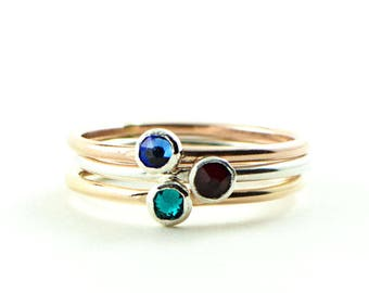 Stacking birthstone ring - mothers rings - personalized birthstone rings - stackable ring - rose gold ring - gift for mom - dainty gold ring