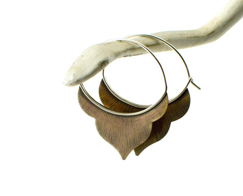 Moroccan hoop earrings  modern earrings  brass hoop earrings image 0