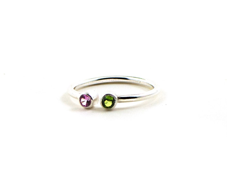 Dual birthstone ring stacking rings   stackable birthstone image 0