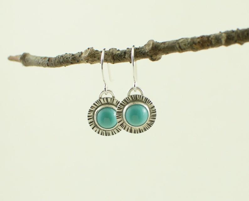 Turquoise dangle earrings  turquoise earrings  vintage glass image 0