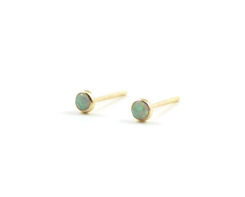 Tiny opal stud earrings opal earrings gold opal earrings  Gold filled