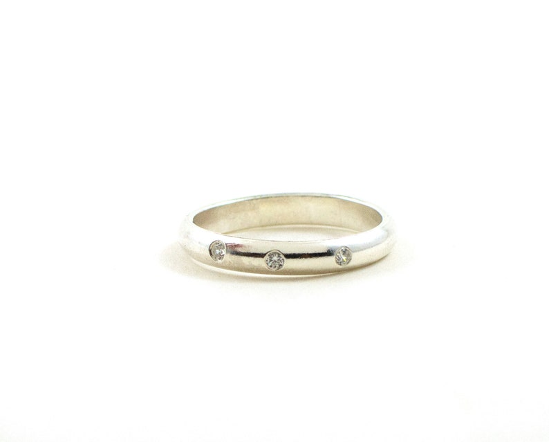 Stacking diamond ring  eternity band  gypsy setting ring  image 0