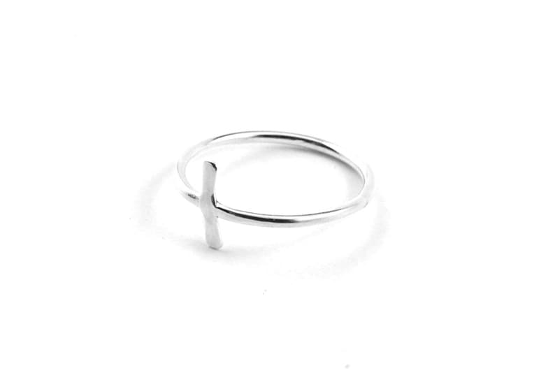 Silver cross ring  cross ring  christian ring for women  image 0