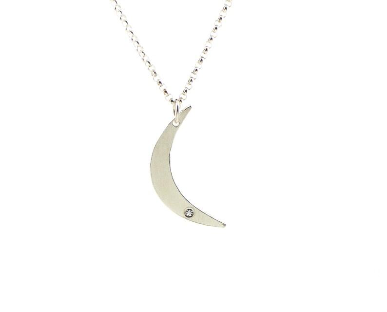 Silver crescent moon necklace  celestial jewelry  diamond image 0