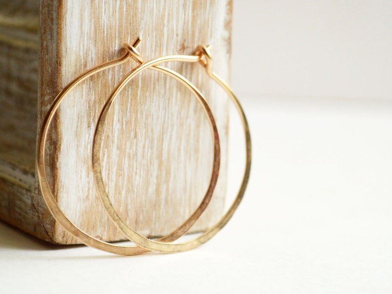 Simple hoop earrings   gold filled hoops   1 inch hoops image 0