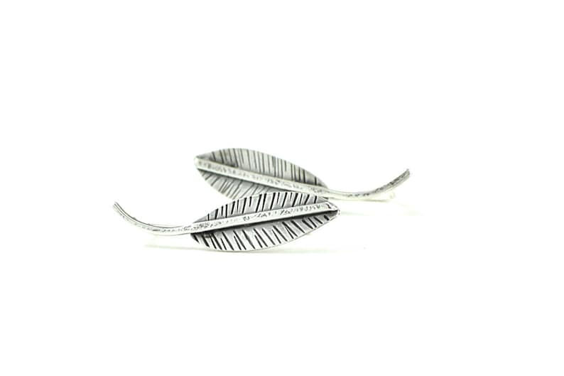 minimalist ear pins Leaf ear climbers silver leaf ear pins silver ear crawlers leaf jewelry