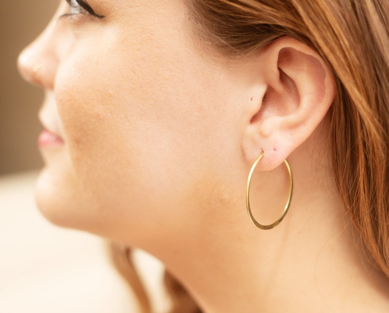 Brass hoop earrings  minimalist earrings  hammered hoop image 0