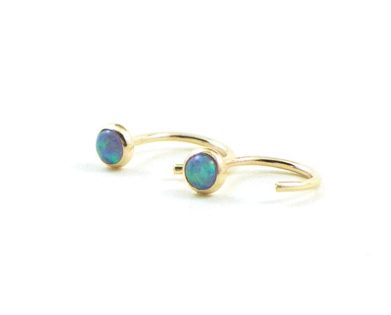 Gold opal huggies earrings gold sleeper earrings  blue opal image 0