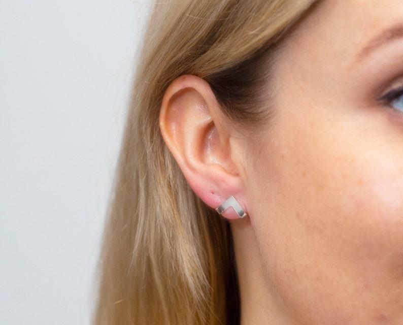 Triangle earrings  huggie earrings  V shape stud  geometric image 0