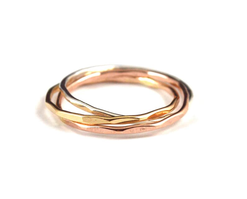 Tri color rolling rings  russian wedding ring  interlocking image 0