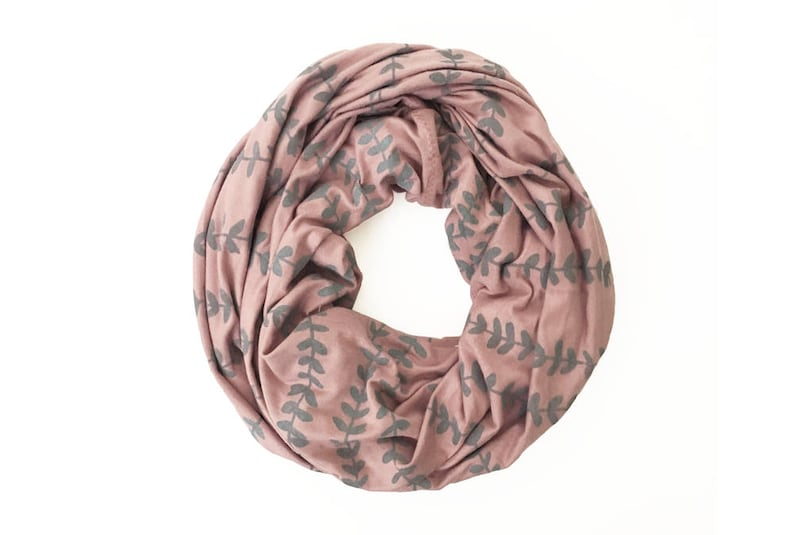 a3ae64ef56d INFINITY SCARF - Gray Vines on Rosé