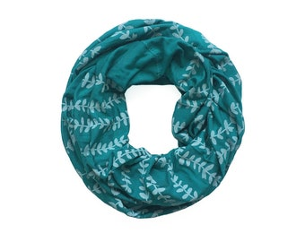 INFINITY SCARF - Gray Vines on Teal