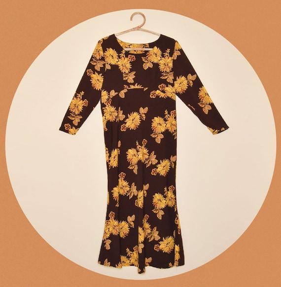 1970s Brown Floral Empire Waist Maxi Dress