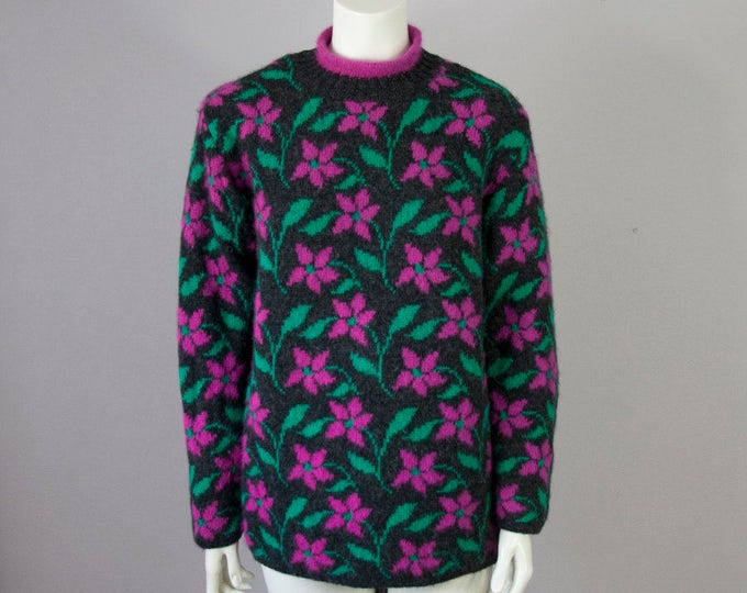 80s 90s Benetton Charcoal Wool Mock Roll Neck Floral Tunic Sweater (S, M)