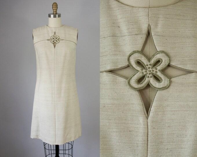 60s Vintage Floral Embroidered Cut Out Linen Short Dress. 60s Shift Dress (XS, S)