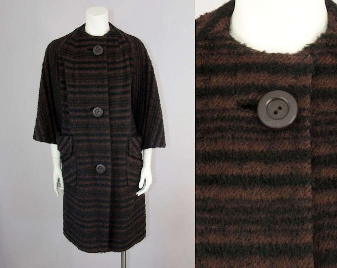 50s Vintage Brown & Black Textured Stripe Wool Mod Coat (M)