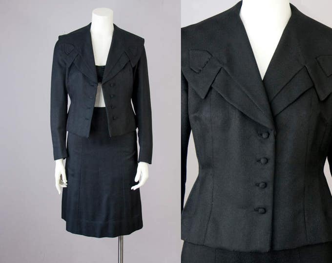 "50s Vintage 3 Piece Black Silky Rayon Tailored Suit with Bandeau Top (XS; 24 1/2"" Waist)"