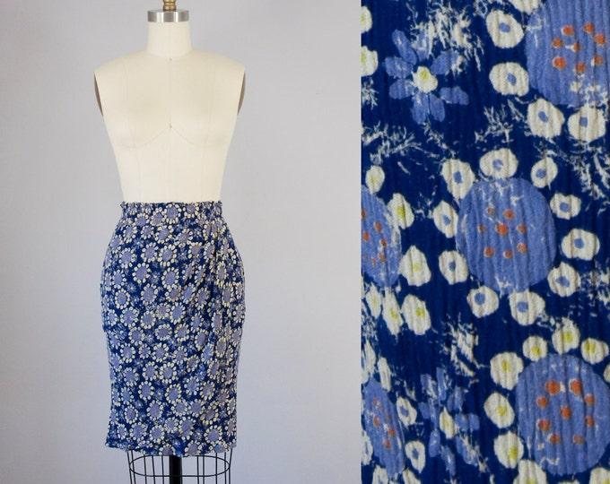 80s 90s Vintage Pierre Cardin Crinkle Rayon Print Wrap Skirt. High Waist (S, M)