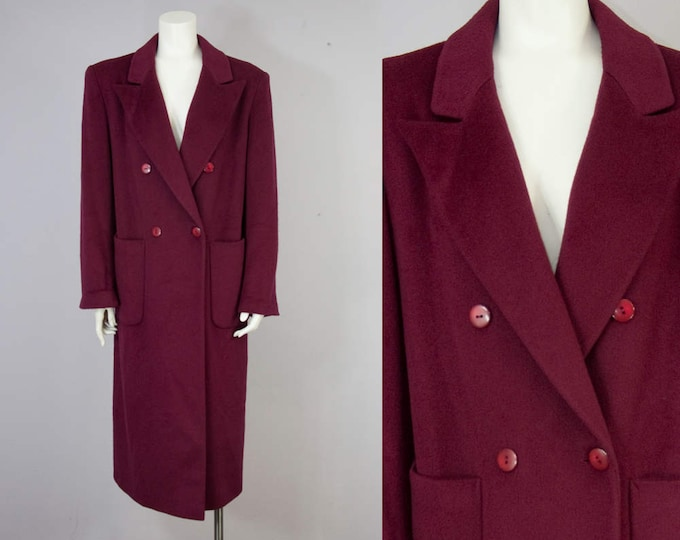 80s 90s Vintage Berry Wool Long Oversized Winter Coat. 80s Tailored Jacket (M)