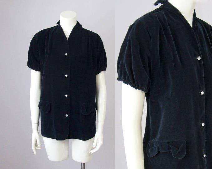 40s Vintage Midnight Velvet Bows & Rhinestone Button Blouse by Page Boy Dallas (M, L, XL)