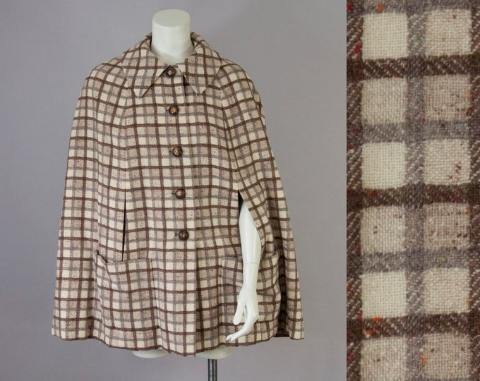 50s 60s Vintage Wool Cream & Brown Speckled Plaid Cape Jacket (M)