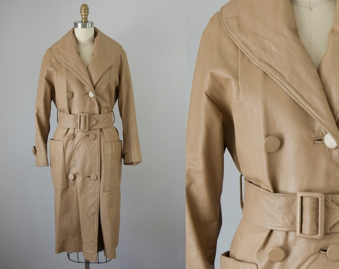 1960s Vintage Beige Leather Belted Maxi Coat.  60s Long Leather Jacket (XS, S)