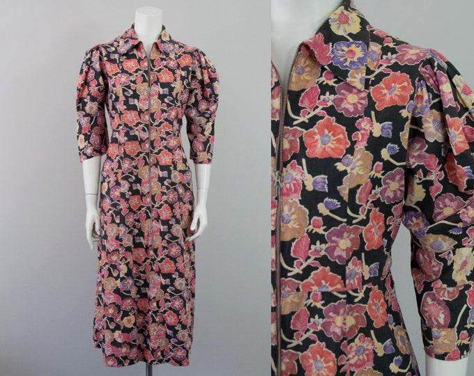 30s 40s Vintage Floral Front Zipper Long Dress (M)