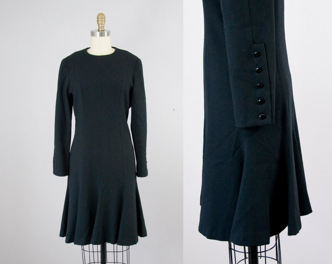 1980s Vintage Tailored Black Wool Crepe Flare Dress. Roll-Up Buttons Sleeves (S)