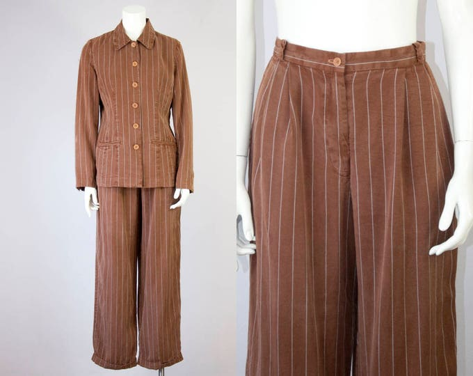 90s Vintage Neiman Marcus Relaxed Jacket and High-Rise Pleated Trouser Set (S)