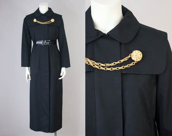 60s Vintage Black Maxi Dress Jacket with Peter Pan Collar by Joseph Stein Designed by Muriel Reade (S)