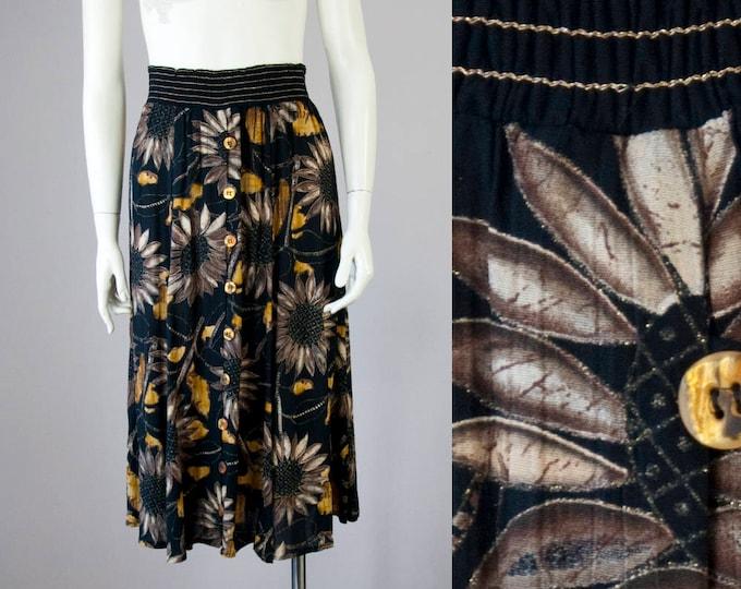 90s Vintage Gold Metallic Sunflower Button Down High-Waisted Midi Skirt (S, M)