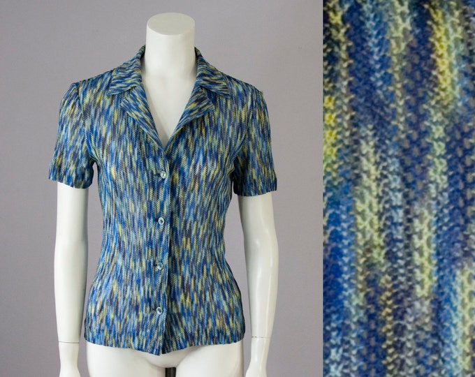 70s Vintage MISSONI For Neiman Marcus Rayon Knit Blouse (S)