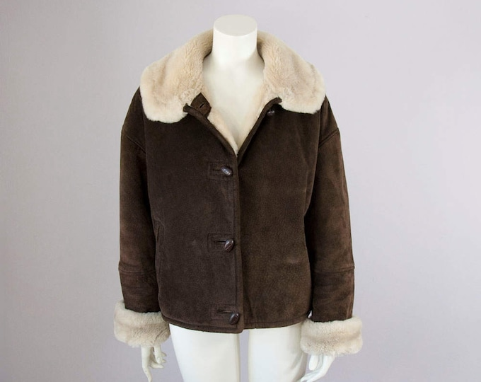 90s Vintage Brown Suede and Faux Shearling Winter Jacket. Oversized Coat (S, M)