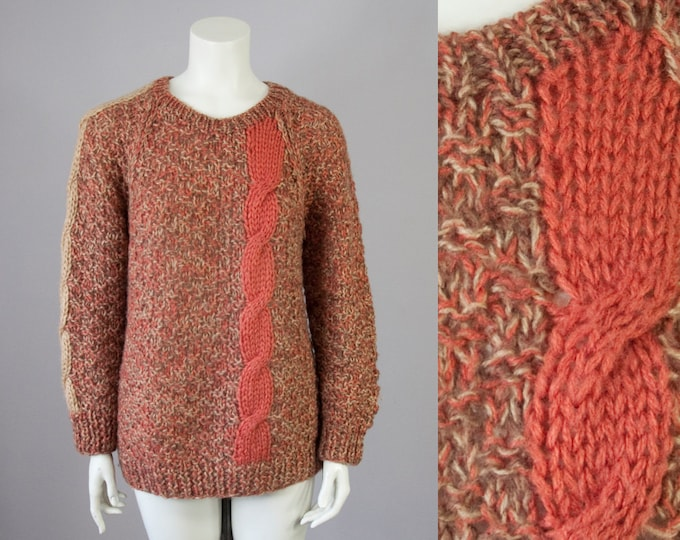 70s Vintage Handknit Acrylic Marled Cable Knit Stripe Sweater (S, M, L)