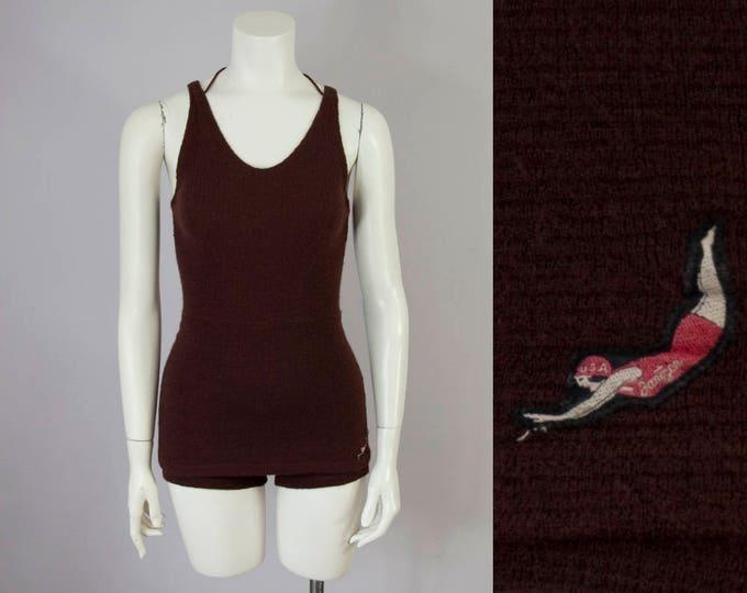 1930s Vintage JANTZEN Brown Wool Swimsuit (XS - Small)