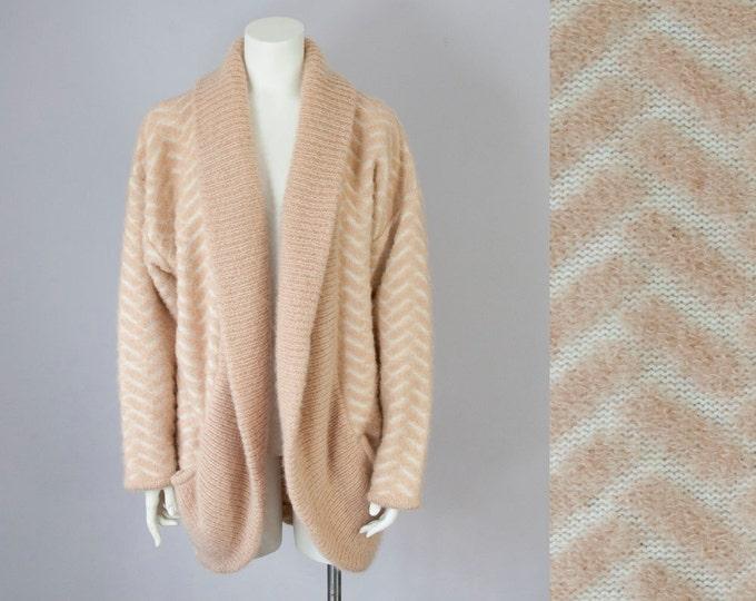 80s Vintage Tan Boucle Wool Shawl Cardigan. 80s Slouchy Sweater Jacket (M)