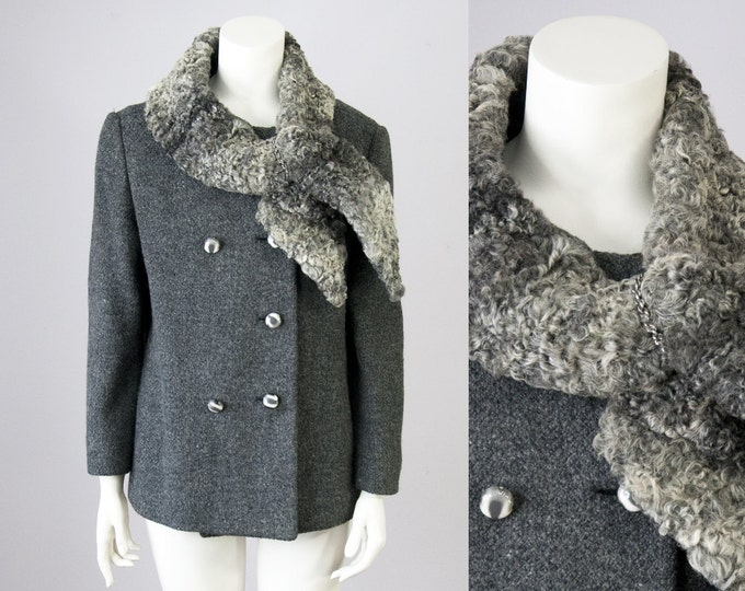 60s Vintage Charcoal Wool Jacket with Curly Fur Collar Scarf. 50s Winter Coat (S)