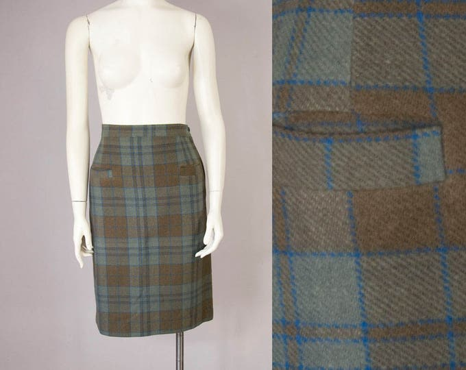"50s Vintage Plaid Wool High Waisted Pocket Skirt (XS, S; 24 3/4"" Waist)"