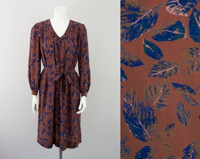 70s 80s Vintage Silk Leaf Print Midi Dress (XS, S)