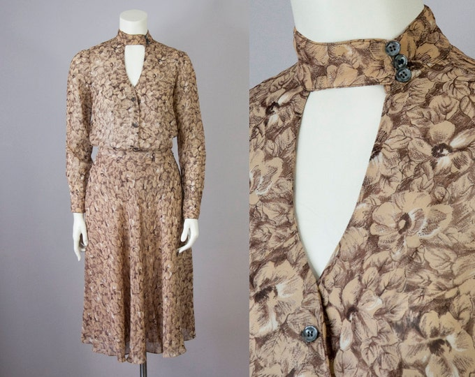 """70s Vintage Judy Hornby Chiffon Floral Blouse and Skirt Set (S; 27"""" Waist)"""