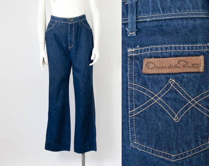 "70s 80s OSCAR de la RENTA High-Rise Dark Wash Jeans (M-L; 29 1/2"" Waist)"