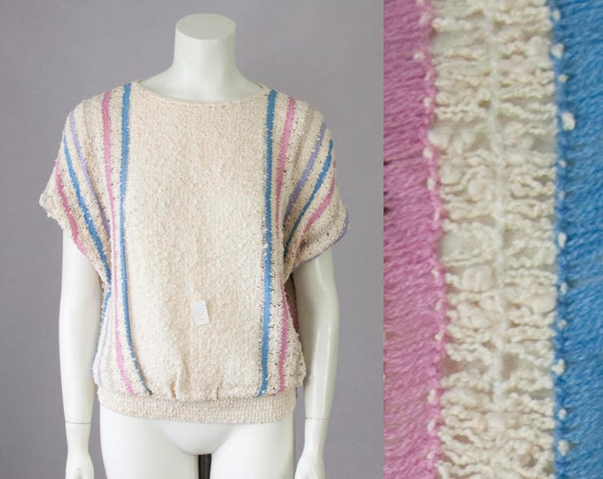 80s Vintage Deadstock Cream Boucle Striped Cropped Slouchy Knit Blouse (S, M)