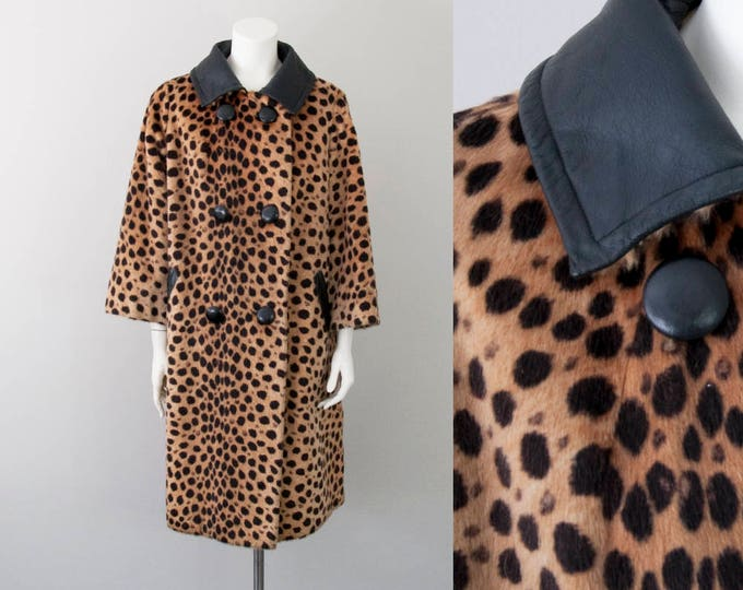 60s Vintage Faux Fur Cheetah and Leather Coat (M, L)